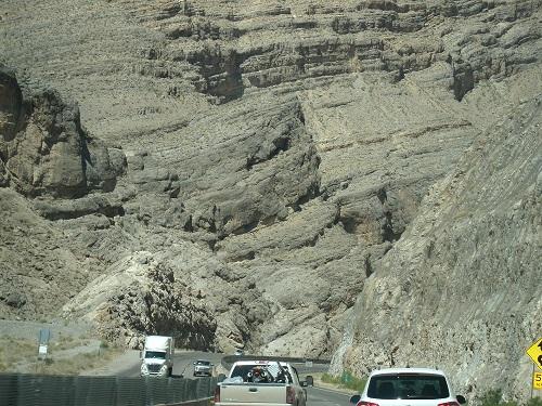 Sich auftürmende Sedimentformationen aufgenommen auf der Fahrt durch den Mittelwesten der USA